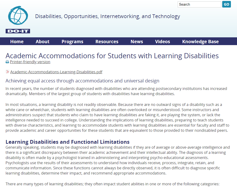 Do It: Academic Accommodations for Students with Learning Disabilities