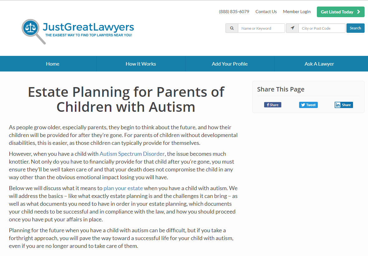Just Great Lawyers: Estate Planning for Parents of Children with Autism